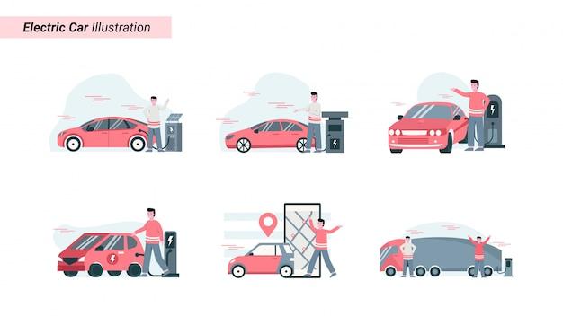 Conjunto de ilustraciones de alguien que está cargando un automóvil eléctrico que es ecológico