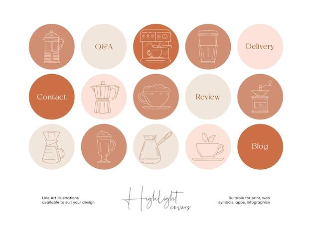 Conjunto de ilustraciones de alimentos y bebidas de arte lineal dibujadas a mano para portadas destacadas de redes sociales