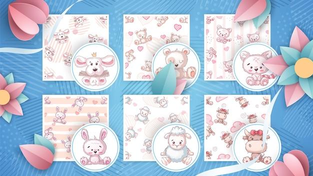 Conjunto de ilustraciones de animales infantiles.