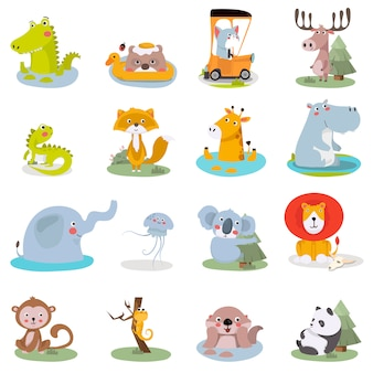 Conjunto de ilustraciones de animales lindos. divertido zoológico