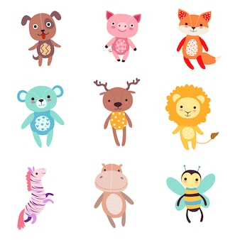 Conjunto de ilustraciones de animales de peluche suave y colorido lindo