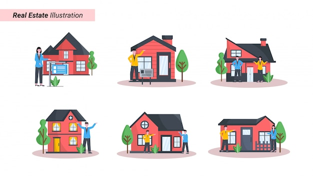 Conjunto de ilustraciones de anuncios de propiedades, viviendas e inmuebles que muestran vendedores y compradores.