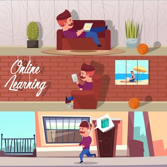 Conjunto de ilustraciones de aprendizaje en línea