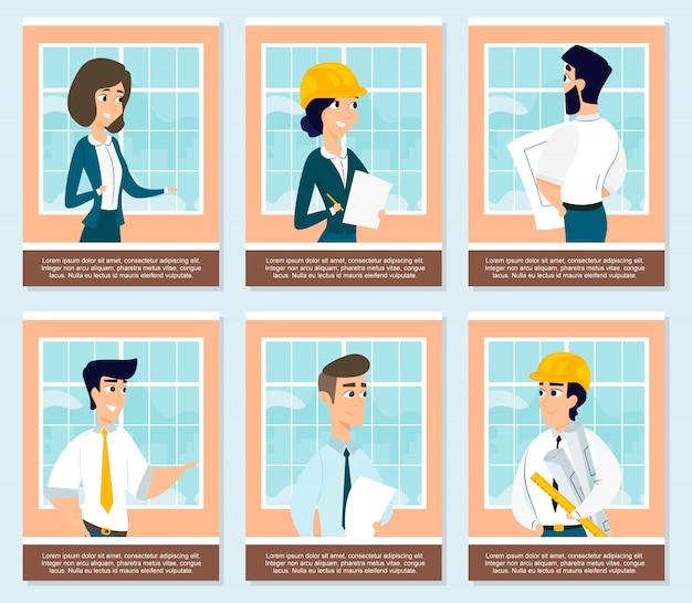 Conjunto de ilustraciones de arquitectos en obra.