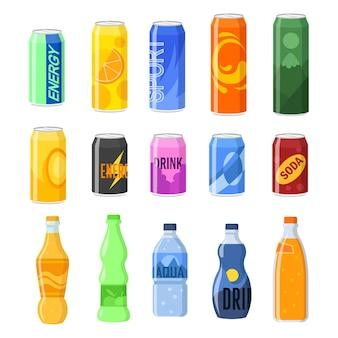 Conjunto de ilustraciones de bebidas en latas y botellas de plástico.