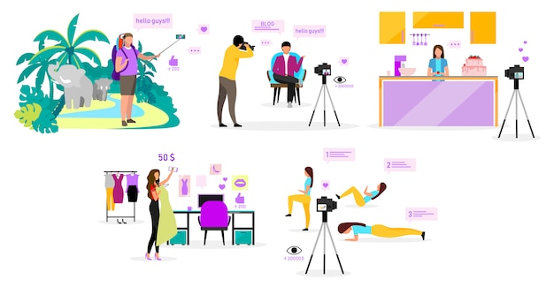 Conjunto de ilustraciones de bloggers. blog de viajes, moda, deportes y cocina. cineastas, influencers que transmiten videos. contenido de vlog en redes sociales. personaje de dibujos animados sobre fondo blanco