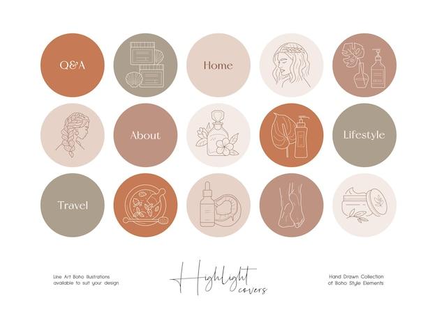 Conjunto de ilustraciones boho de arte de línea dibujada a mano conjunto de iconos destacados de la historia de las redes sociales