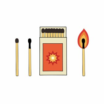 Conjunto de ilustraciones de cajas de cerillas y fósforos. dibujo vectorial en estilo doodle.