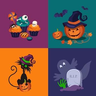 Conjunto de ilustraciones de calabaza, dulces y gato de halloween