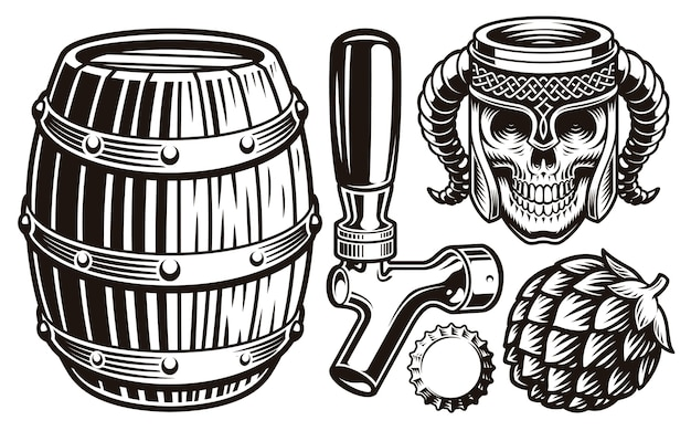 Conjunto de ilustraciones de cerveza vintage