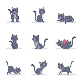 Conjunto de ilustraciones en color de gatos grises lindos