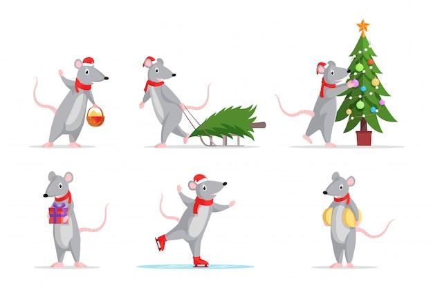 Conjunto de ilustraciones en color de ratas de año nuevo