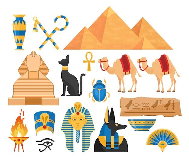 Conjunto de ilustraciones coloridas de dibujos animados de egipto antiguo. colección de símbolos egipcios aislada