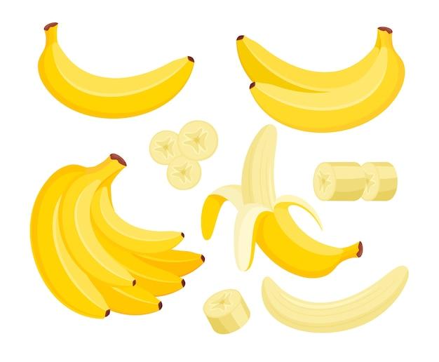 Conjunto de ilustraciones coloridas de plátano amarillo fruta tropical exótica aislado en blanco