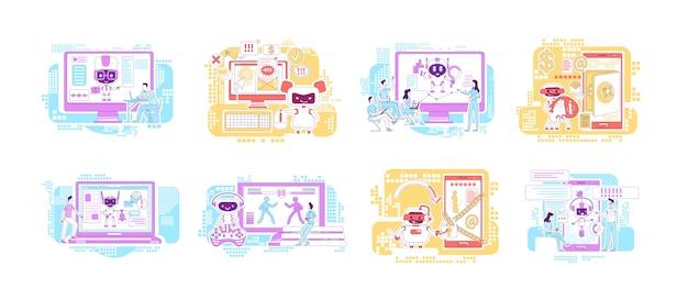 Conjunto de ilustraciones de concepto de línea fina de bots buenos y malos. robots de internet personajes de dibujos animados para web. asistentes personales de ia software de computadora. ideas creativas de malware malicioso