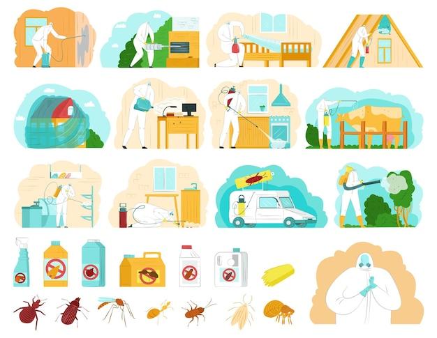 Conjunto de ilustraciones de control de plagas