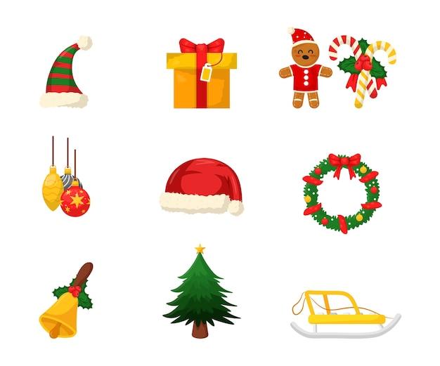 Conjunto de ilustraciones de decoraciones de año nuevo, caja de regalo, gorro de papá noel, árbol de navidad, corona, paquete de pegatinas de trineo.