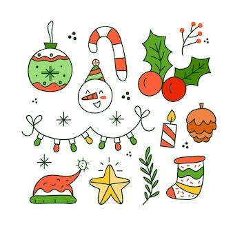 Conjunto de ilustraciones dibujadas a mano de elementos navideños