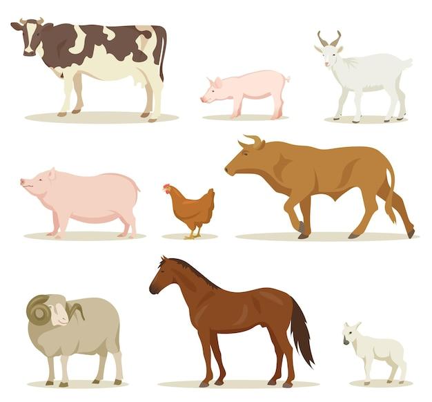 Conjunto de ilustraciones de dibujos animados de animales domésticos