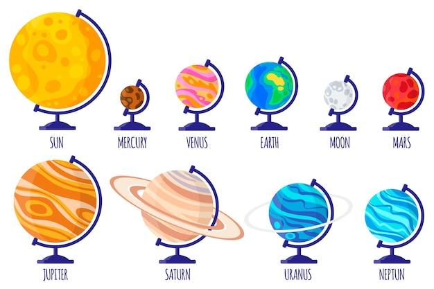 Conjunto de ilustraciones de dibujos animados con globos escolares de escritorio de planetas del sistema solar sobre fondo blanco.