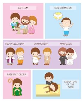 Conjunto de ilustraciones didácticas de los siete sacramentos del cristianismo.
