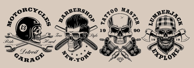 Conjunto de ilustraciones de diferentes cráneos en blanco y negro