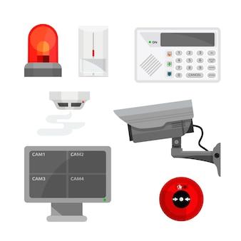 Conjunto de ilustraciones de diferentes dispositivos de sistema de seguridad.