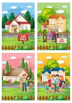 Conjunto de ilustraciones de diferentes escenas de familia de pie frente a una casa en venta