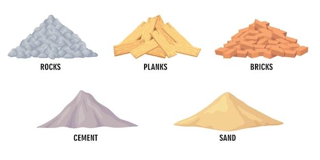 Conjunto de ilustraciones de diferentes materiales de construcción.