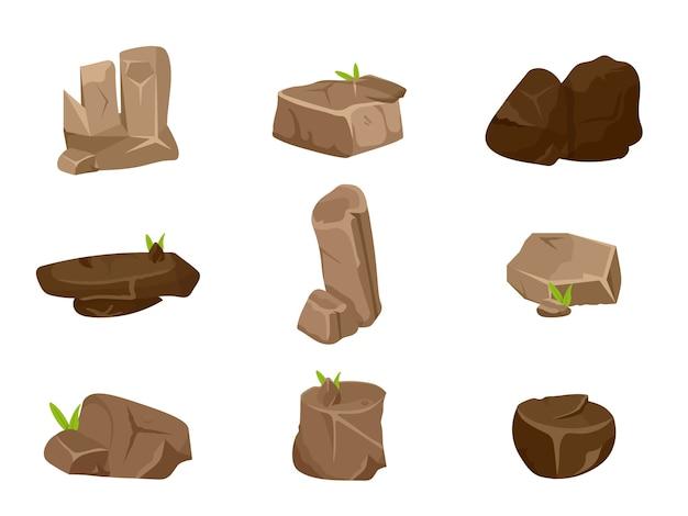 Conjunto de ilustraciones de diferentes piedras marrones, grandes rocas aisladas sobre fondo blanco.
