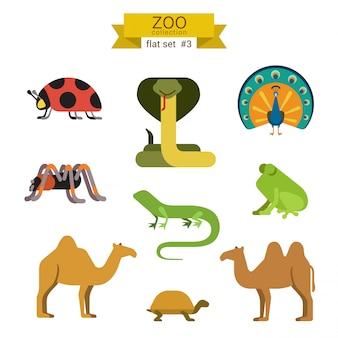 Conjunto de ilustraciones de diseño plano de dibujos animados de animales.