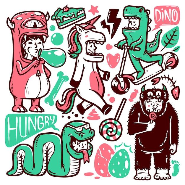Conjunto de ilustraciones de doodle de monstruo humano