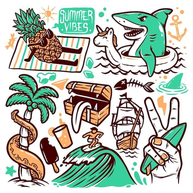 Conjunto de ilustraciones de doodle de playa