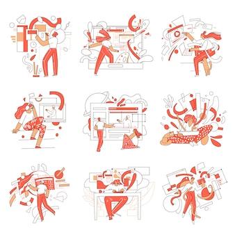 Conjunto de ilustraciones de educación en línea con personajes de hombre y mujer y elementos abstractos. concepto de aprendizaje a distancia en campos creativos, empresariales, científicos, informáticos.