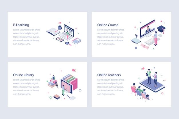 Conjunto de ilustraciones de educación en línea