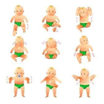 Conjunto de ilustraciones de ejercicio y masajes para bebés pequeños