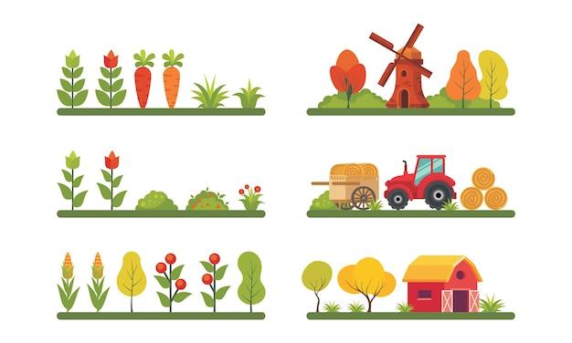 Conjunto de ilustraciones de elementos de granjero con estilo de diseño plano moderno