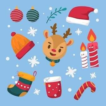 Conjunto de ilustraciones de elementos navideños de diseño plano