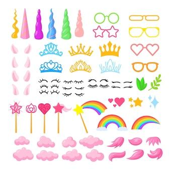 Conjunto de ilustraciones de elementos de unicornio de dibujos animados