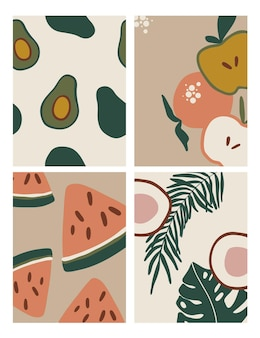 Conjunto de ilustraciones con frutas y hojas.