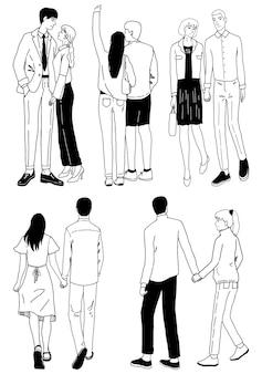 Conjunto de ilustraciones de garabatos de parejas encantadoras. hombres y mujeres en una cita, paseo romántico. colección de dibujos de contorno de vector dibujado a mano aislado en blanco. diseño del día de san valentín.