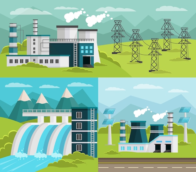 Conjunto de ilustraciones de generación de energía