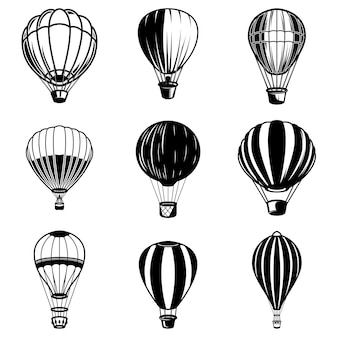 Conjunto de ilustraciones de globos de aire. elemento de logotipo, etiqueta, emblema, signo. imagen