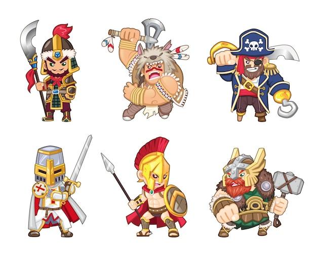 Conjunto de ilustraciones de guerreros antiguos de todo el mundo [soldado chino, indio americano, pirata, caballero templario, espartano, vikingo]