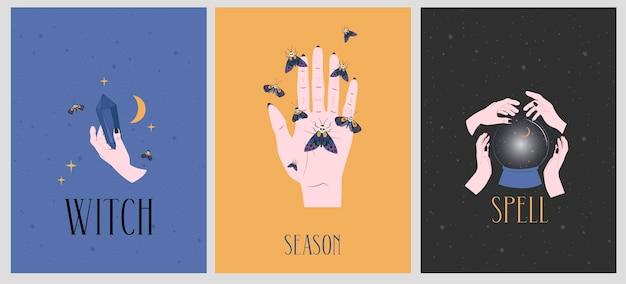 Conjunto de ilustraciones de happy halloween con elementos místicos.