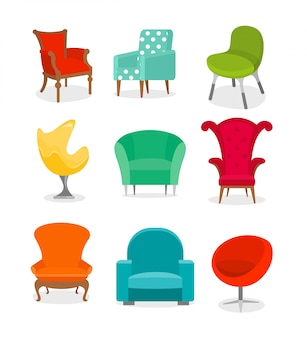Conjunto de ilustraciones de hermosos sillones de colores diferentes sobre fondo blanco en estilo de dibujos animados.