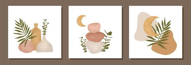 Conjunto de ilustraciones de hojas de plantas botánicas vintage boho moderno acuarela