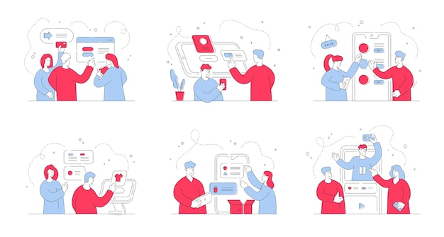 Conjunto de ilustraciones con hombres y mujeres contemporáneos que utilizan diversos dispositivos digitales para realizar pedidos en tiendas online contemporáneas durante la compra. ilustración de estilo, arte de línea fina