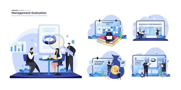 Conjunto de ilustraciones de informe de evaluación de gestión corporativa.