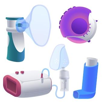 Conjunto de ilustraciones de inhalador. dibujos animados